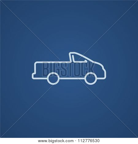 Pick up truck line icon for web, mobile and infographics. Vector light blue icon isolated on blue background.