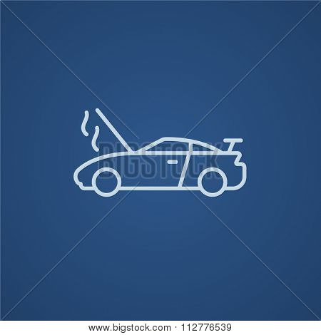 Broken car with open hood line icon for web, mobile and infographics. Vector light blue icon isolated on blue background.