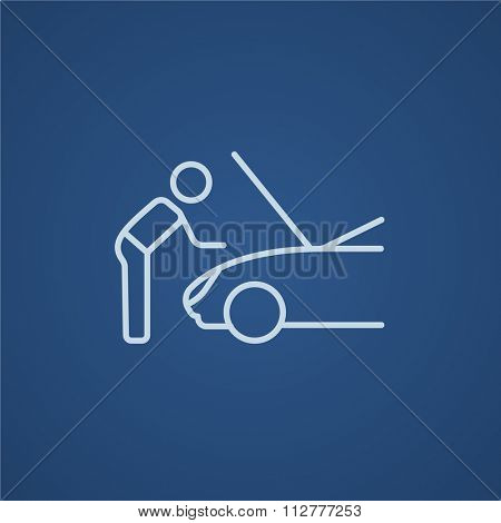 Man fixing car line icon for web, mobile and infographics. Vector light blue icon isolated on blue background.