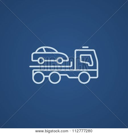 Car towing truck line icon for web, mobile and infographics. Vector light blue icon isolated on blue background.