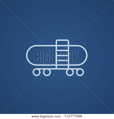 Railway cistern line icon for web, mobile and infographics. Vector light blue icon isolated on blue background.