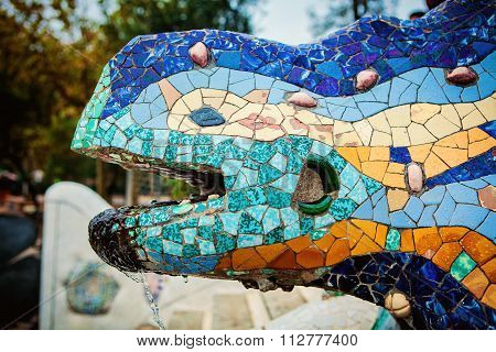 Salamander Statue In Park Guell, Barcelona