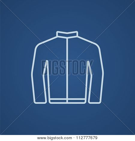 Biker jacket line icon for web, mobile and infographics. Vector light blue icon isolated on blue background.