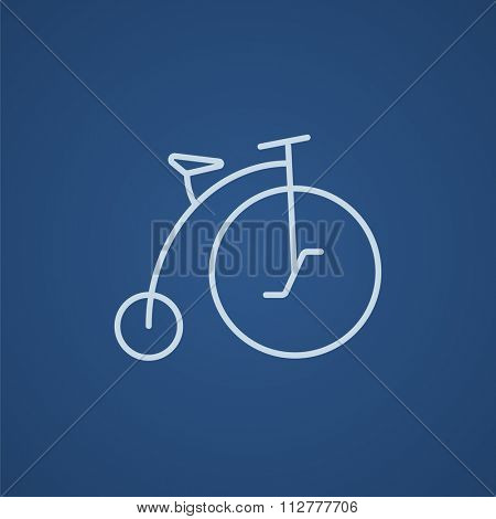 Old bicycle with big wheel line icon for web, mobile and infographics. Vector light blue icon isolated on blue background.