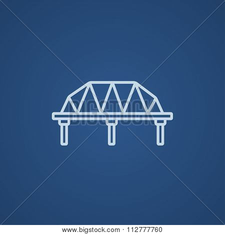 Rail way bridge line icon for web, mobile and infographics. Vector light blue icon isolated on blue background.