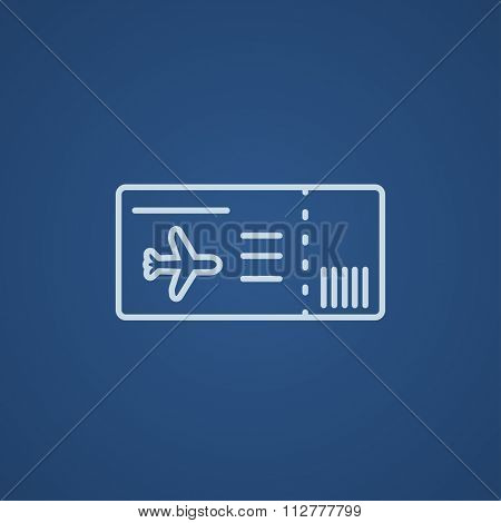 Flight ticket line icon for web, mobile and infographics. Vector light blue icon isolated on blue background.