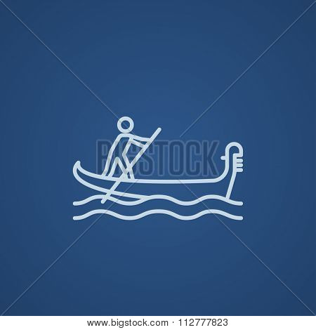 Sailor rowing a boat line icon for web, mobile and infographics. Vector light blue icon isolated on blue background.