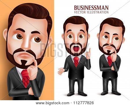 Business Man Vector Character in Attractive Corporate Attire Thinking Idea