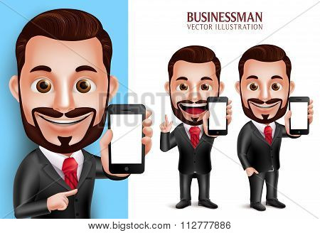 Business Man Vector Character Holding Mobile Phone with Blank Screen