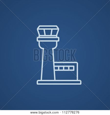 Flight control tower line icon for web, mobile and infographics. Vector light blue icon isolated on blue background.