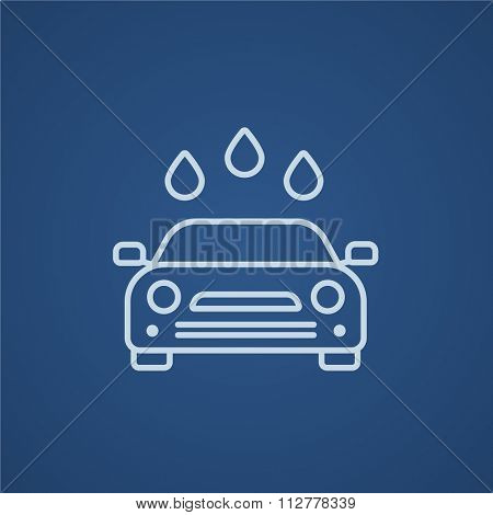 Car wash line icon for web, mobile and infographics. Vector light blue icon isolated on blue background.
