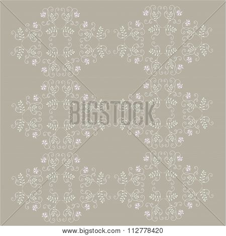 Seamless floral texture, hand drawing. Gray contours, curls, green leaves, pink flowers