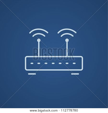 Wireless router line icon for web, mobile and infographics. Vector light blue icon isolated on blue background.