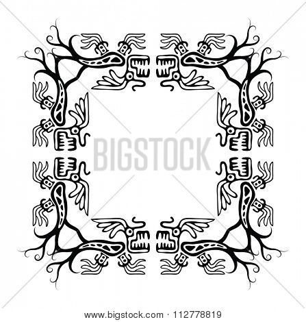 Black corners elements with dragons, illustration