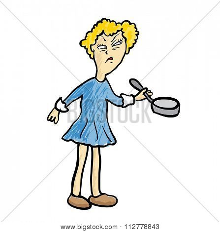 Dissatisfied woman with a frying pan, illustration.