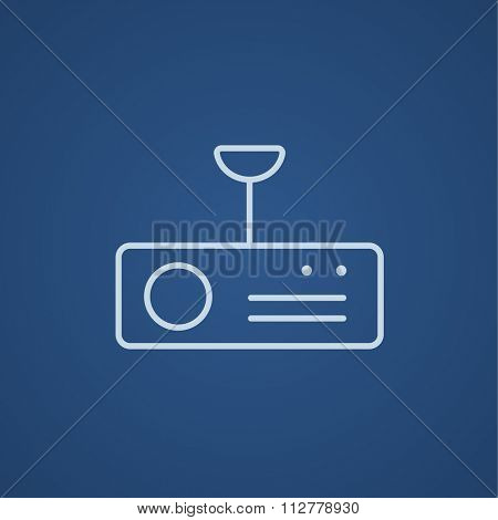 Digital projector line icon for web, mobile and infographics. Vector light blue icon isolated on blue background.