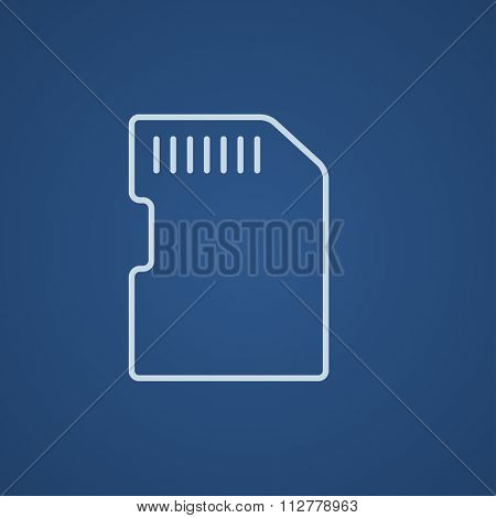 Memory card line icon for web, mobile and infographics. Vector light blue icon isolated on blue background.