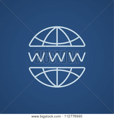 Globe internet line icon for web, mobile and infographics. Vector light blue icon isolated on blue background.