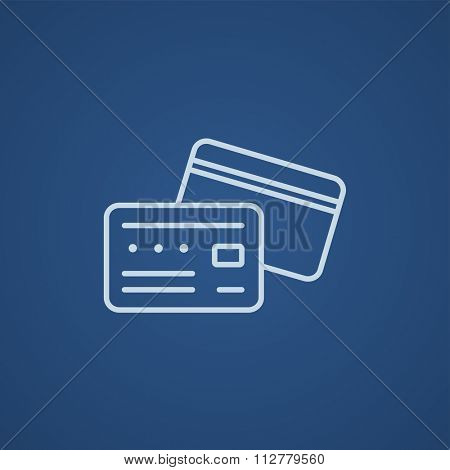 Credit card line icon for web, mobile and infographics. Vector light blue icon isolated on blue background.