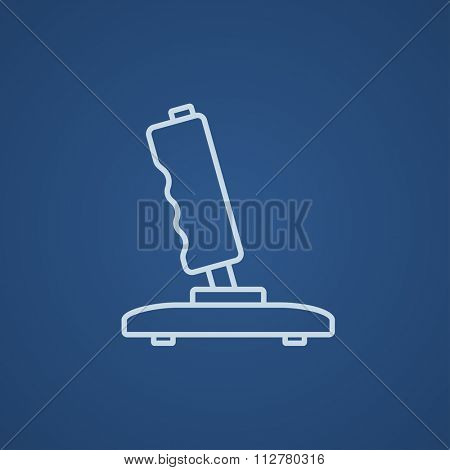 Joystick line icon for web, mobile and infographics. Vector light blue icon isolated on blue background.