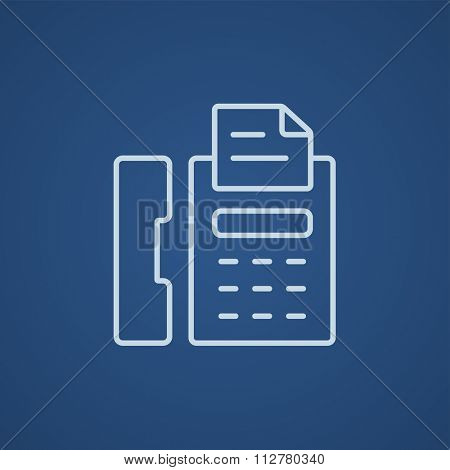 Fax machine line icon for web, mobile and infographics. Vector light blue icon isolated on blue background.