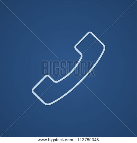 Receiver line icon for web, mobile and infographics. Vector light blue icon isolated on blue background.