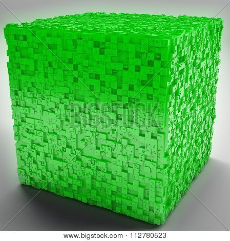 Mysterious Greeble Cube In Green
