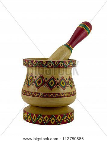 Egyptian Artistic Painted Mortar And Pestle