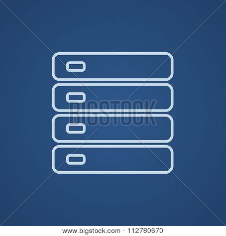 Computer server line icon for web, mobile and infographics. Vector light blue icon isolated on blue background.