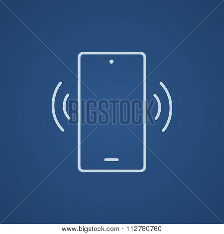 Vibrating phone line icon for web, mobile and infographics. Vector light blue icon isolated on blue background.