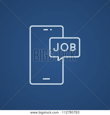 Touch screen phone with message line icon for web, mobile and infographics. Vector light blue icon isolated on blue background.