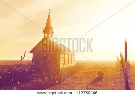 Old Wooden Christian Desert Chapel