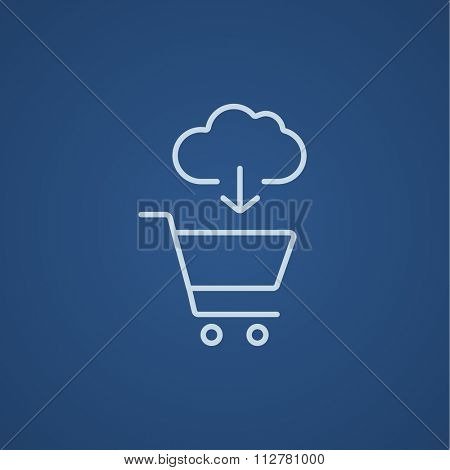 Cloud with arrow pointing at shopping cart line icon for web, mobile and infographics. Vector light blue icon isolated on blue background.