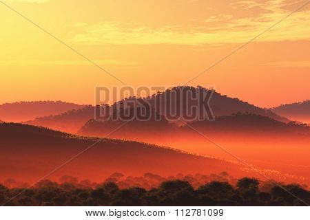 Wonderful Fairy Tale Magical Scenery In Sunset Sunrise