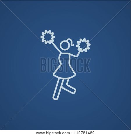 Cheerleader line icon for web, mobile and infographics. Vector light blue icon isolated on blue background.