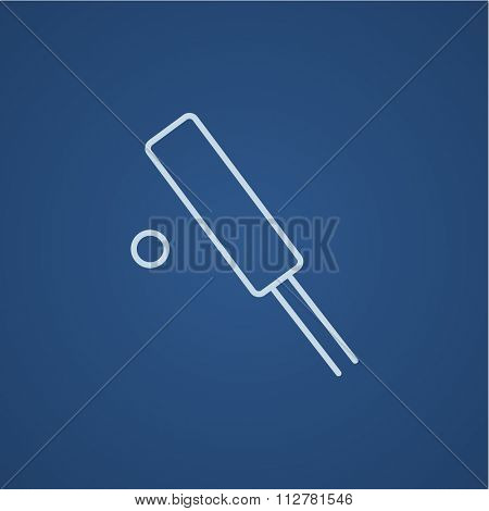 Cricket line icon for web, mobile and infographics. Vector light blue icon isolated on blue background.