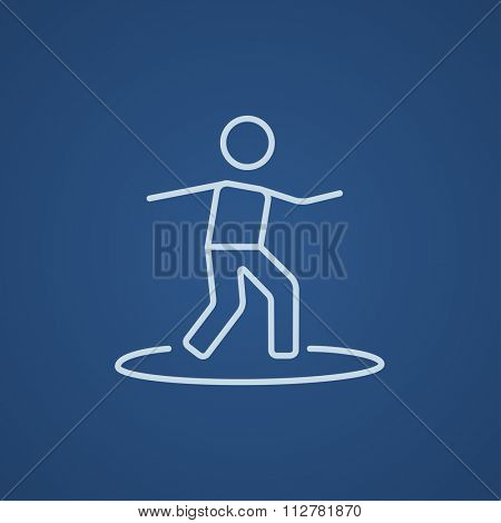 Male surfer riding on surfboard line icon for web, mobile and infographics. Vector light blue icon isolated on blue background.
