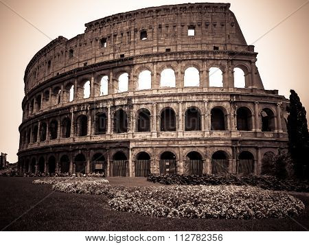 The Ancient Eternal Wonder - Colosseum in Sepia - Rome, Italy