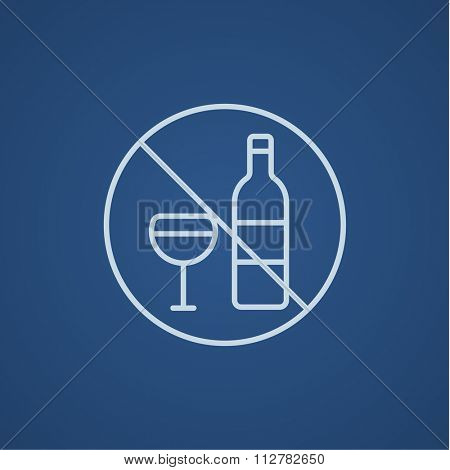 No alcohol sign line icon for web, mobile and infographics. Vector light blue icon isolated on blue background.