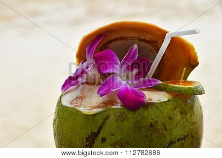 Fresh Coconut Milk Juice Decorated With Flowers