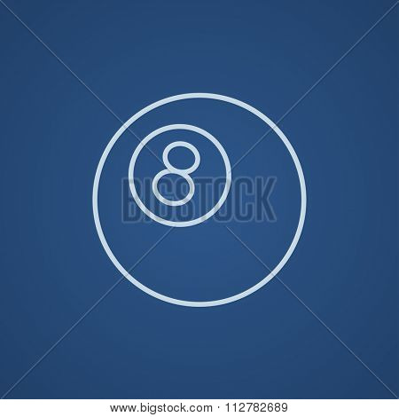 Billiard ball line icon for web, mobile and infographics. Vector light blue icon isolated on blue background.