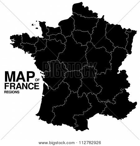 Regions map of France