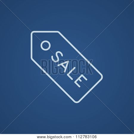 Sale tag line icon for web, mobile and infographics. Vector light blue icon isolated on blue background.