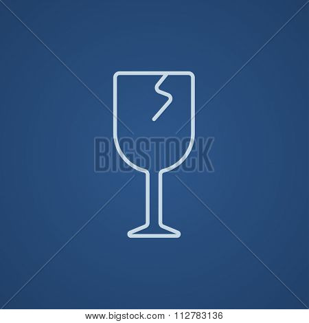 Cracked glass line icon for web, mobile and infographics. Vector light blue icon isolated on blue background.