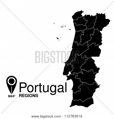 Regions Map Of Portugal. Portugal