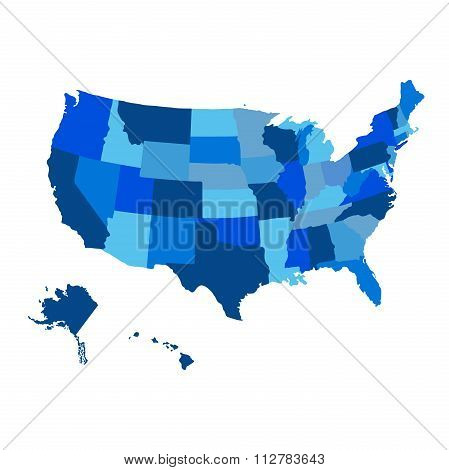 United States Blue Map With Alaska Region Vector