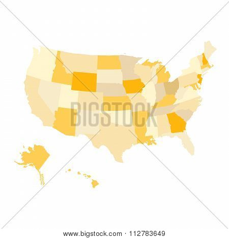 Regions Map Of United States Of America. Usa