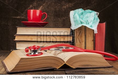 Open Book And Stethoscope