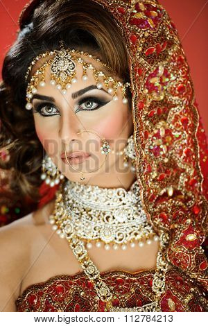 Portrait of a beautiful female model in traditional indian bridal costume with makeup and jewellery
