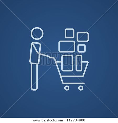 Man pushing shopping cart with boxes line icon for web, mobile and infographics. Vector light blue icon isolated on blue background.